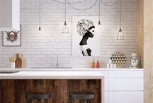 Design ideas - Contemporary and urban / Framed art, black, white and tones of light brown. Stylish and simple.