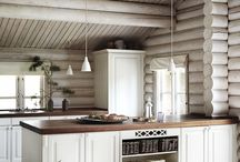 white log house