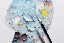 Paint Palettes and Brushes / Beautiful photographs of paint, palettes and brushes.