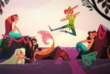 W. Disney - Peter Pan and Tink and fairy friends - 1953