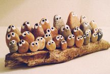 Driftwood and stone art