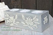 Świeczniki / Drewniane świeczniki dekorowane w naszej pracowni.
