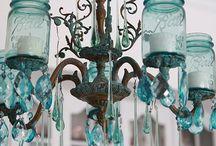 Vintage Aqua Home Decor / Vintage finds in shades of aqua blue