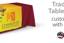 Custom Logo Table Runner / With our trade show table runners you can print your custom logo on any color runner that you like, or you can design for a full print runner. Our standard production time is a fast 3-days.