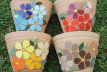 vasos barro mosaico