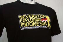 NEVERSTOP EXPLORING INDONESIA / kaos backpacker, kaos pendaki gunung, kaos petualang
