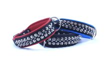 Two Spike One Stud Leather Dog Collar