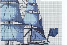Keresztszemes minták (hajók)