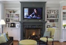 Fireplace with tv and bookshelves