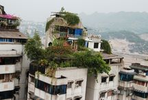 skyscraper rooftops