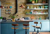 Kitchen / I'd love my kitchen to be something like retro industrial shabby. With good and practical storage and workbenches. It is the heart of the house, so the diningspace should be inviting for both eating, doing crafts, homework and the long girltalks.. This is my moodboard