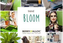 Trends // Bloom / The line between indoors and outdoors is blurring. Large bay windows, winter gardens, patios and terraces are bringing more green into our homes. Everywhere we see prints of flowers, butterflies and insects as decorative elements. The color palette of Bloom is inspired by a colorful garden. From sunny yellow over fuchsia to purple. Shades of green are combined with bright orange and ocean blue.