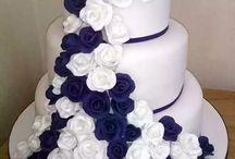 blå rosa bryllup kake