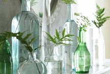 Decorar con botellas, tarros y jarras de vidrio / Decorating with bottles, jars, jugs