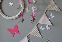 Décoration chambre bébé enfant fille rose chocolat / décoration rose fuchsia chocolat beige rose poudré