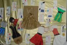 Stylisme de papier / Création de robe en et sur papier par des enfants de 6 à 11 ans.