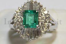 Gioielli - Anello in Platino (950‰) con Smeraldo e Diamanti