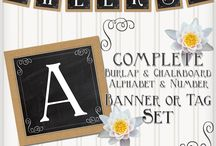 Burlap and Chalkboard Banner Set / by Andrea Cammarata