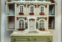 """Secret Christmas House Kits / This house is approximately the scale for inside a 1"""" dollhouse. House measures 3 1/2""""w x 4""""h x 1 1/4""""d Table measures 3 3/4""""w x 2 5/8""""h x 2""""d"""