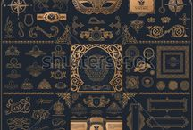 Calligraphic Vintage Ornament / Vintage islam pattern, elements for design, gold, black and white logo. Calligraphic logos and symbols.