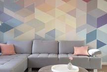 Muurschildering woonkamer