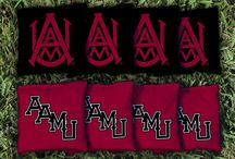 Alabama A&M Bulldogs Tailgating Games, Cornhole, Man Cave Decor / Alabama A&M Bulldogs Cornhole, Giant Jenga Tumble Tower, washers games, Man Cave Decor and rugs by FanMats and Corn Hole Bag sets