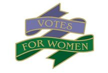 Suffragette banners badges