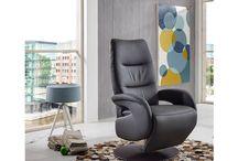 Modern Genuine-Leather Dark Grey Accent Chair