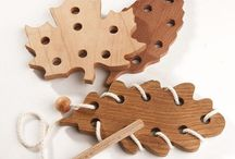 Wooden lacing toys