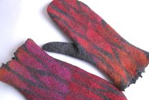 felted mittens and fingerless