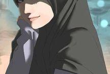 manga modern girl hijab