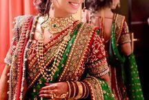 bridal lehenga red with green