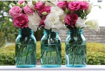 Vintage Wedding Decor for Hire from ONBB / We have a great range of vintage decor pieces including genuine vintage blue ball mason jars, vintage crystal bud vases & milk glass vessels for hire for your wedding or soiree anywhere on the beautiful mornington peninsula. Email us at contact@onbb.com.au