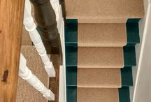 Green Stairs / Painted stairs using Mid Azure Green from Little Green Company. Runner from Carpets for Less in Chingford.