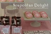 Neapolitan Delight Candy Buffet by Signature Sweets / Signature Sweets is a subsidiary of Signature Designs Interiors Events & Custom Decor.  Find more of our fabulous candy and fine dessert buffet designs on our website, www.signaturesweetshouston.com.