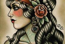 traditional woman tattoo design