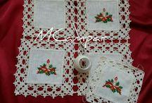 kare  kumaş ekleme masa örtüsü