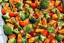Sesame chicken and veggies