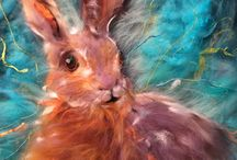 Hares / beautiful hares in art. Felt Hares