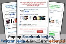 Pop-up Facebook beğen, Twitter takip & Email Box eklentisi