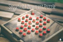Sequential Movement Puzzles / Combination puzzles, also known as sequential move puzzles, are a form of mechanical puzzle popularized in movies and culture. This category of puzzles represent two of the most famous puzzles of all time, the Rubik's Cube and the Towers of Hanoi, as well as classic games like Solitaire.  http://shop.siammandalay.com/blogs/puzzles/55622915-sequential-movement-puzzles-the-history-of