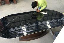 หินอ่อน Black marquina สีดำ งานสั่งทำตามขนาด วางท็อปโต๊ะทานข้าวตัวใหญ่ / หินอ่อน Black marquina สีดำ งานสั่งทำตามขนาด วางท็อปโต๊ะทานข้าวตัวใหญ่ ขนาด 1.20X2.4 เมตร ตัดเข้ารูป ประกอบเข้ากับขาโต๊ะของลูกค้าที่ทำไว้เเล้ว www.thaistoneshop.com
