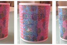izetäka-design on material / pintura expandida sobre objetos de uso cotidiano : cerámicas, cojines, sillas...