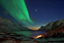 Arora Borealis / These 'lights' are caused by God Himself - we attribute it to collisions between gaseous particles in the Earth's atmosphere with charged particles released from the sun's atmosphere. Variations in colour are due to the type of gas particles that are colliding.   / by Diane Weigel