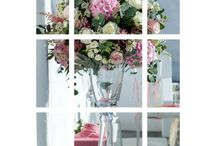 Wedding ceremony arrangements #weddingwish / #Flowers on #glass #vases #white #pedestals