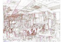 HongKong urban sketch / sketches of Hong Kong.  by travel artist Evgeny Bondarenko graphic works, ink pen and watercolor