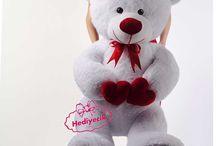 Peluş Oyuncak 100cm Çift Kalp Tutan Romantik Ayıcık Hediyecik.com.tr Online Oyuncak Hediye Alışveriş 7/24 Sipariş 0212 325 24 25