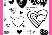 Hearts / Clear stamp from pinkandmain.com