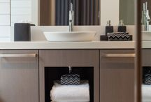 Alpine Bathrooms / Using rich natural materials and textures combined with contemporary hardware and accessories.