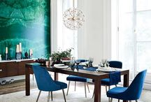 NanNan's home / Attracted to navy blue furniture accent, Persian rug, and crisp wall color